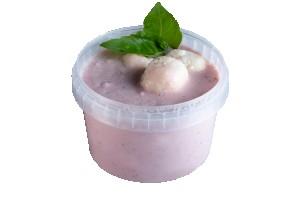 Eperkrémleves vanílliás túrógombóccal